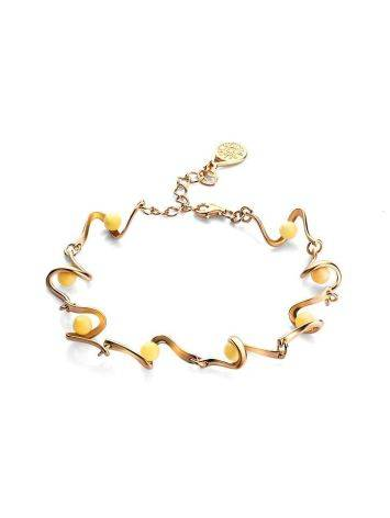 Link Amber Bracelet In Gold Plated Silver The Leia, image