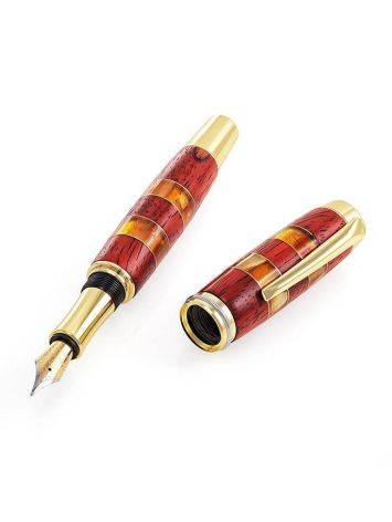 Handcrafted Padauk Wood Fountain Pen With Honey Amber The Indonesia, image