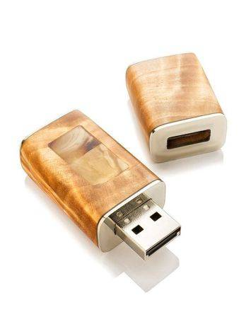 16 Gb Handcrafted Amber Flash Drive With Birch Wood The Indonesia, image