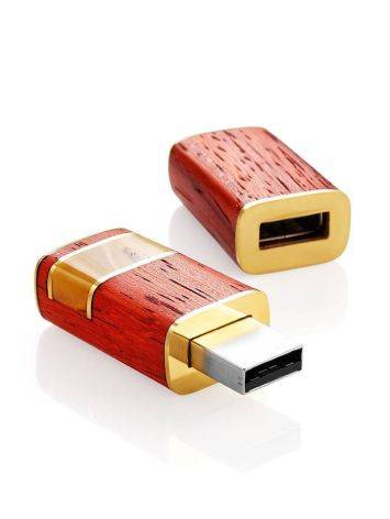 16 Gb Handcrafted Amber Flash Drive With Padauk Wood The Indonesia, image