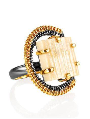 Adjustable Gold-Plated Ring With Square Cut Mammoth Tusk The Era, Ring Size: Adjustable, image