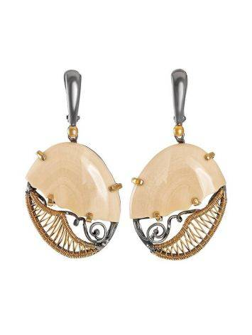 Drop Gold-Plated Earrings With Mammoth Tusk The Era, image
