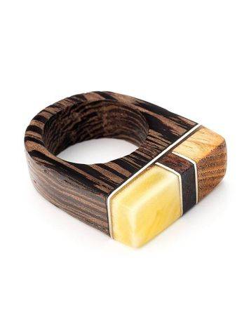 Multicolor Handcrafted Wooden Ring With Bright Honey Amber The Indonesia, Ring Size: 8 / 18, image