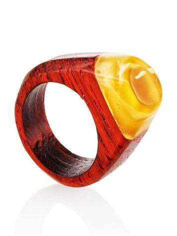 Handcrafted Padauk Wood Ring With Honey Amber The Indonesia, Ring Size: 8.5 / 18.5, image
