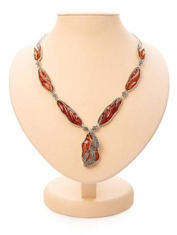 Cognac Amber Pendant Necklace In Sterling Silver With Marcasites The Colorado, image