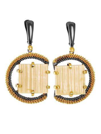 Square Cut Mammoth Tusk Earrings In Gold-Plated Silver The Era, image