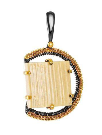 Round Gold Plated Pendant With Natural Mammoth Tusk The Era, image