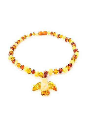 Multicolor Amber Beaded Necklace With Angel Shaped Pendant, image