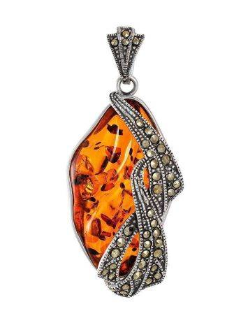 Cognac Amber Pendant In Sterling Silver With Crystals The Colorado, image