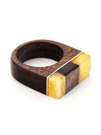 Handcrafted Brazilwood Ring With Honey Amber The Indonesia, Ring Size: 9 / 19, image