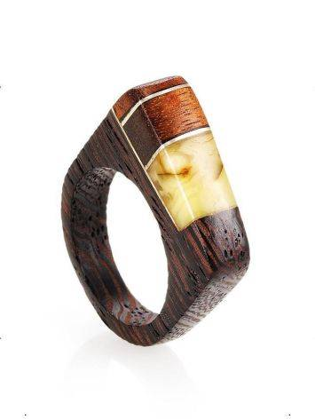 Handcrafted Wenge Wood Ring With Butterscotch Amber The Indonesia, Ring Size: 8 / 18, image