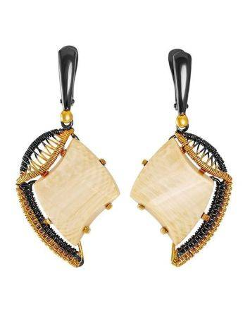 Gold-Plated Drop Earrings With Mammoth Tusk The Era, image