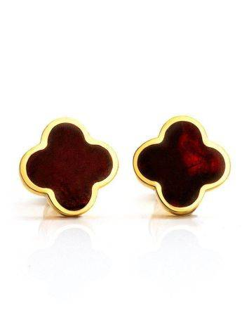 Stud Amber Earrings In Gold-Plated Silver The Monaco, image