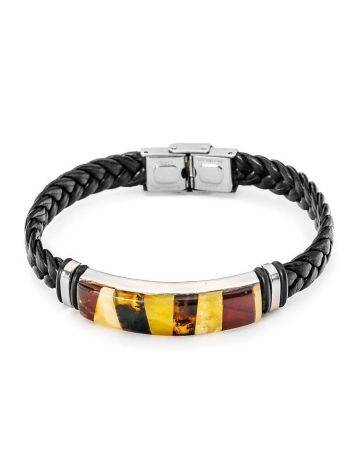 Braided Leather Wristband With Multicolor Amber The Grunge, image
