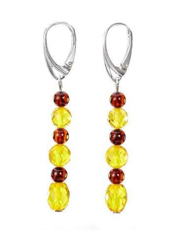 Multicolor Amber Dangle Earrings In Sterling Silver The Bohemia, image