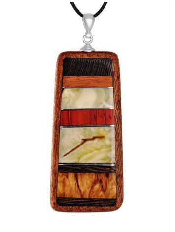 Wooden Pendant With Honey Amber The Indonesia, image