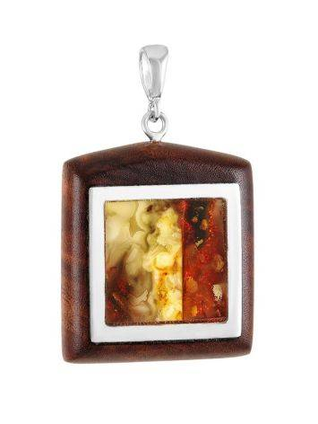 Square Wooden Pendant With Cognac Amber The Indonesia, image