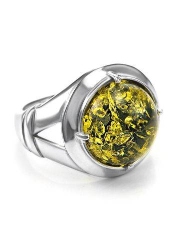 Bold Green Amber Men's Ring In Sterling Silver The Cesar, image
