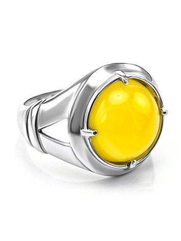 Bright Honey Amber Men's Ring In Sterling Silver The Cesar, image