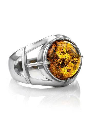 Stunning Silver Men's Ring With Cognac Amber The Cesar, image