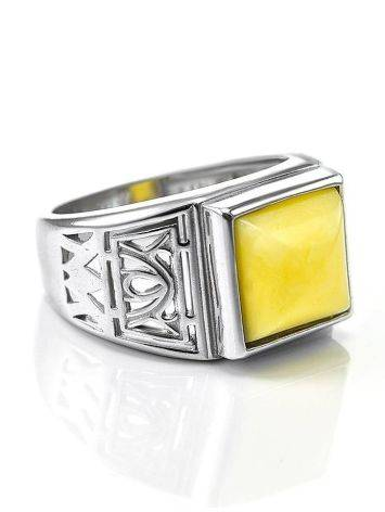 Stunning Silver Ring With Honey Amber The Cesar, image