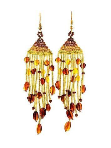 Braided Earrings With Cognac Amber And Yellowish Glass Beads The Fable, image