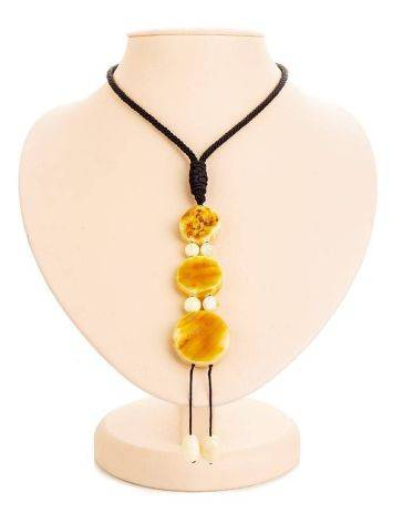 White Amber Necklace With Textile Cord The Indonesia, image