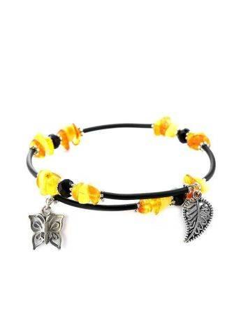 Designer Honey Amber Bangle Bracelet With Dangles, image