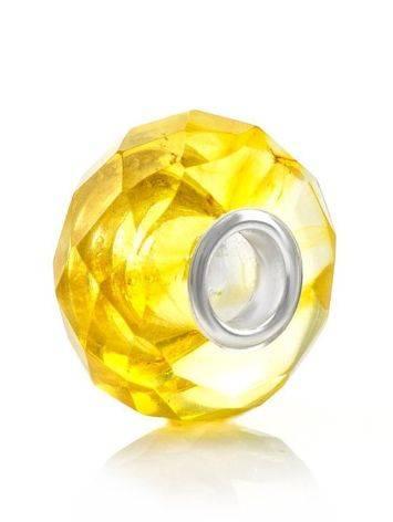 Faceted Lemon Amber Ball Charm, image