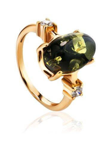 Classy Gold-Plated Ring With Green Amber And Crystals The Nostalgia, Ring Size: 6 / 16.5, image