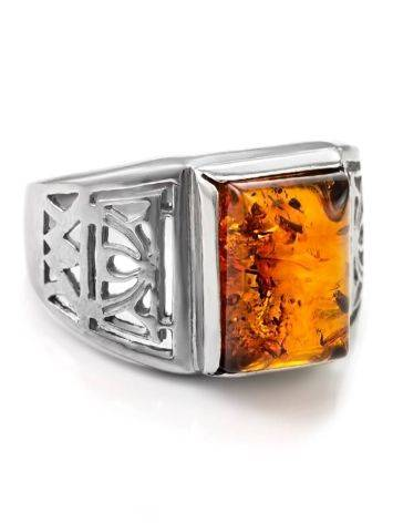 Filigree Silver Signet Ring With Cognac Amber The Cesar, image