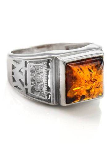 Classic Men's Signet Ring With Cognac Amber In Sterling Silver The Cesar, image