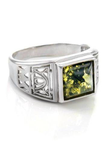 Geometric Men's Signet Ring With Green Amber The Cesar, image