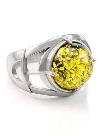 Statement Men's Ring With Green Amber In Sterling Silver The Cesar, image