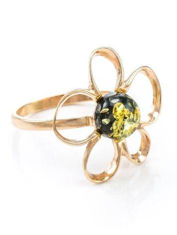 Adorable Floral Ring In Gold-Plated Silver With Green Amber The Daisy, Ring Size: 5.5 / 16, image