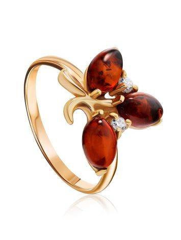 Refined Gold-Plated Ring With Cognac Amber And Crystals The Verbena, Ring Size: 5.5 / 16, image