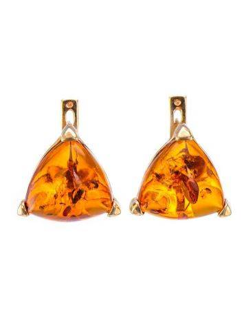 Gold-Plated Earrings With Cognac Amber The Etude, image