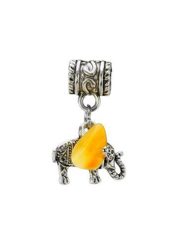 Metal Charm With Honey Amber The Elephant, image