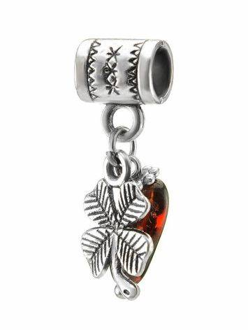 Four Leaf Clover Charm With Cherry Amber In Sterling Silver The Shamrock, image