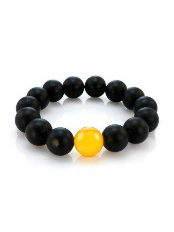 Black Amber Bead Bracelet The Cuba, image