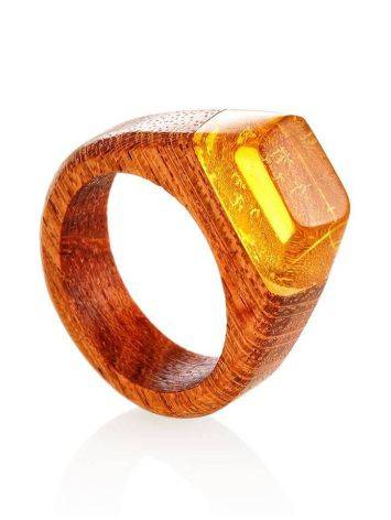 Redwood Ring With Lemon Amber The Indonesia, Ring Size: 10 / 20, image