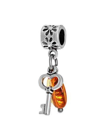 Metal Charm With Cognac Amber The Key, image