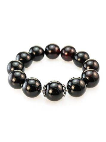 Bold Dark Amber Ball Beaded Bracelet The Ariadna, image
