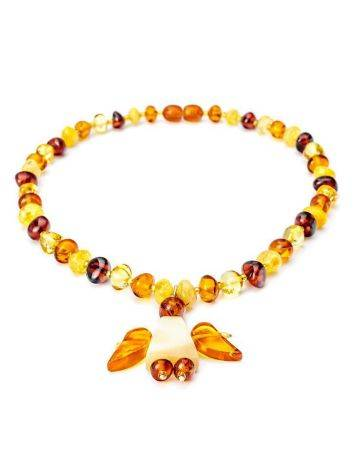 Amber Teething Necklace With Angel Shaped Pendant, image