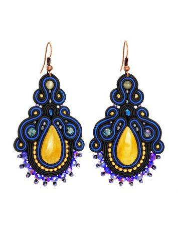Amber And Glass Beads Braided Drop Earrings The India, image