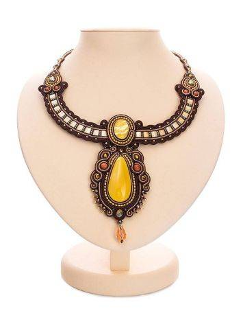 Ornate Braided Necklace With Amber And Glass Beads The india, image