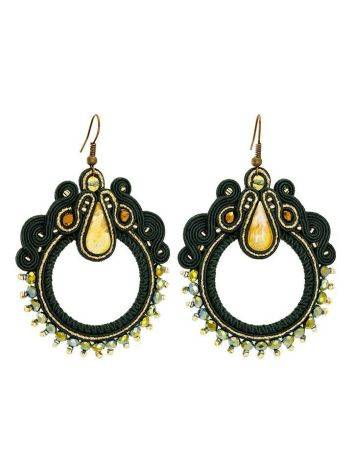Braided Hoop Drop Earrings With Amber And Crystals The India, image