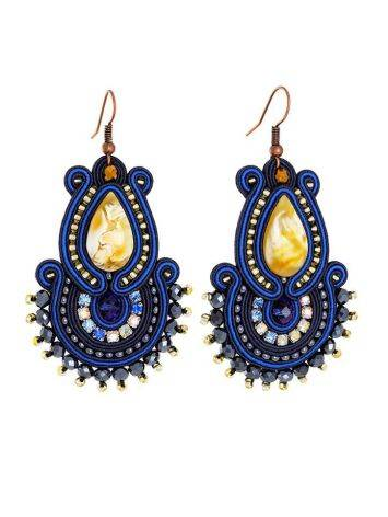 Ornate Drop Earrings With Amber And Crystals The India, image