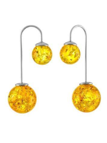 Asymmetric Silver Threader Earrings With Lemon Amber The Paris, image