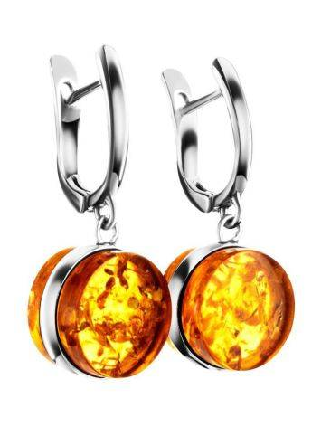 Sterling Silver Earrings With Luminous Lemon Amber The Furor, image